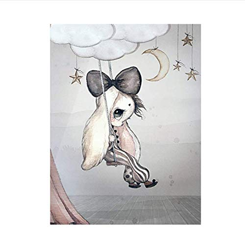 daerduotutu Home Decor Nordic Canvas Painting Art Poster Rabbit Girls Boys Cartoon Watercolour Decor for Kid Bedroom A11 50×70CM Without Frame