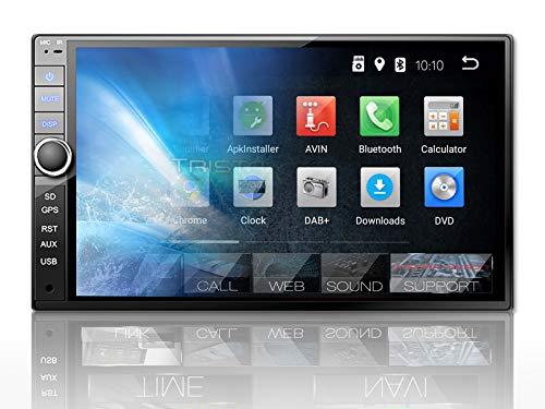 Tristan Auron BT2D7020A Auto Radio - Android 9.0, 7 inch Touchscreen scherm, GPS Navi, Bluetooth handsfree installatie, Quad Core, MirrorLink, USB/SD, OBD 2, DAB+, 2 DIN
