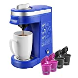 CHULUX 12 Ounce Single Cup Coffee Brewer for Capsule and Refillable Filters for Coffee Powder