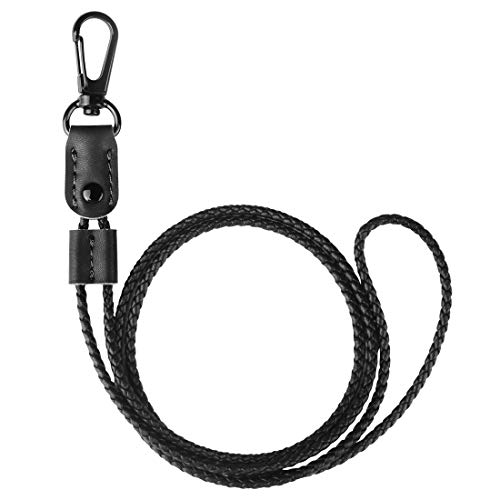 UTOPER Neck Lanyard Braided Leather Badge Lanyards Adjustable Length Long Strap for ID Card Badge Holders,Woman,Man,Staff Work,Passes,Keychain,Mobile Phone(Black)