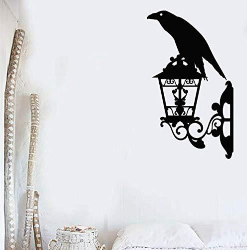 Krähe Wandtattoo Schwarzer Rabe Vogel Laterne Street Style Schlafzimmer Wohnzimmer Wohnkultur Vinyl Fenster Aufkleber Kunst Wandbild 70 * 42Cm