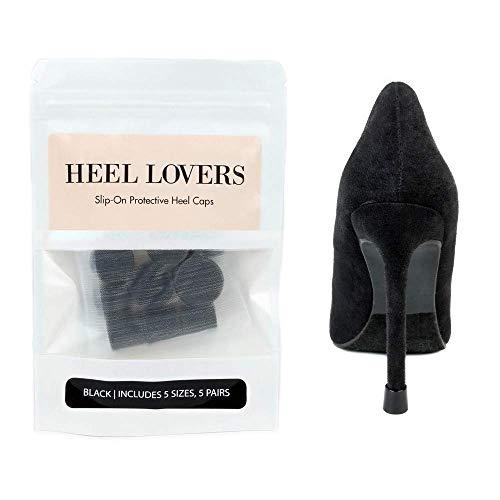 Heel Lovers Protective Heel Caps by FootFitter - High Heel Tip Covers for Women! (Black)