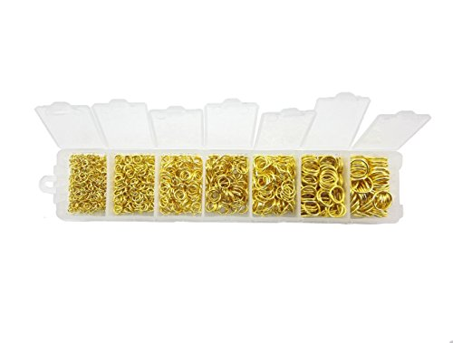 yueton Pack of 1500 Gold Plated Open Jump Ring Connectors Jewelry Finding 3mm 4mm 5mm 6mm 7mm 8mm 10mm Box Set