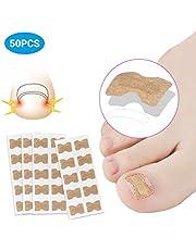 Parche de corrección de uñas de los pies, 50 unidades con cinta adhesiva de doble cara, corrector de paroniquia, herramientas de pedicura