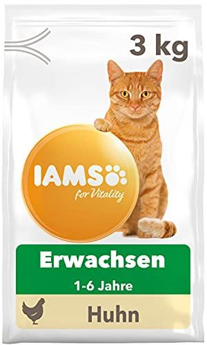IAMS for Vitality Katzenfutter trocken Huhn - Trockenfutter für Katzen im Alter von 1-6 Jahren, 3 kg