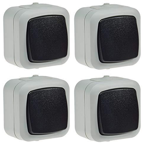 Wechsel Schalter Feuchtraum IP44 Aufputz 250V 10A Schaltelement in geschütztem Gehäuse mit Wippe Grau (4 Stück)