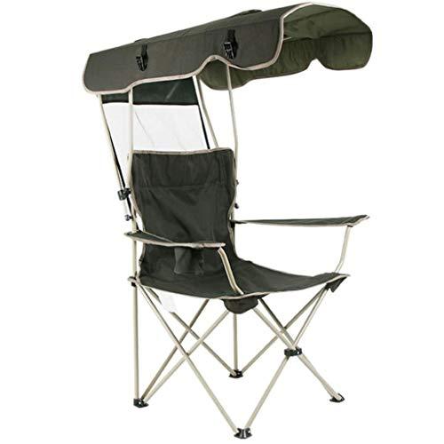 Camping Silla, Pesca Silla con toldo Ligero Silla de Pesca portátil Plegable Silla Silla del Ocio al Aire Libre Parasol Silla de Playa