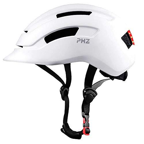 PHZ. Adult Bike Helmet with Rear Light for Urban Commuter Adjustable for Men/Women (White, Medium)