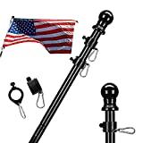 Harrms Black Flag Pole Without Bracket,5 FT No Tangle Spinning Heavy Duty Steel Pole Kit for House Suitable for American Flag Use for Backyard Garden Yard Truck, Weather Resistant & Rust Free