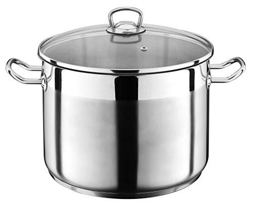 20 Liter Kochtopf mit Glasdeckel Suppentopf Topf Eintopf Universaltopf Silber INDUKTION (20 Liter)