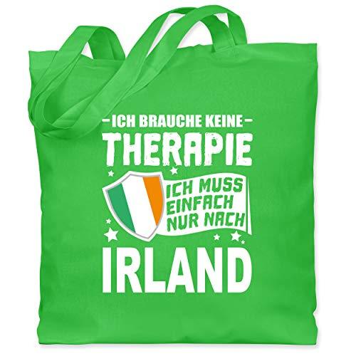 Shirtracer Länder - Ich brauche keine Therapie Ich muss einfach nur nach Irland - weiß - Unisize - Hellgrün - Fernweh - WM101 - Stoffbeutel aus Baumwolle Jutebeutel lange Henkel