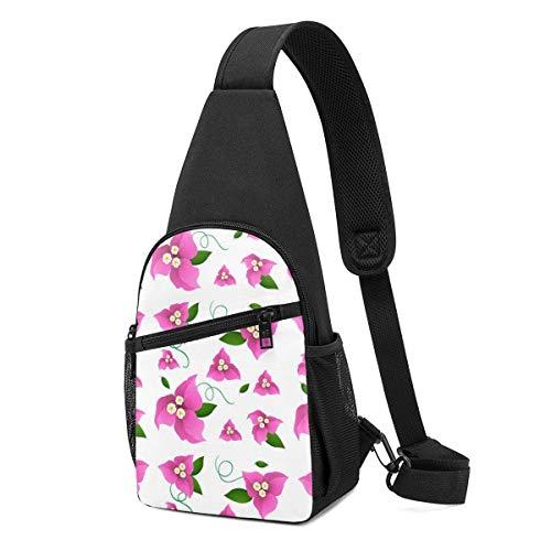 Hdadwy Nahtloses Hintergrunddesign mit rosa Papierblumen-Schultertasche, Leichter Schulterrucksack Brusttasche Umhängetaschen Travel Hiking Daypacks für Männer Frauen