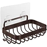 Homemaxs Soap Dish,2021 Newest Soap Dish for Shower with Hook, 304 Stainless Steel Wall Mounted Bar Soap Holder for Bathroom Kitchen- Powerful Adhesive No Drilling Bronze