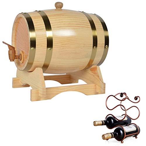 YAMMY Barril de Vino de Madera, Mesa de Barril de Whisky, Barril de Vino de 3 litros, Barril de Vino de Madera de Estilo Vintage, Cubo Decorativo con botellero Usado para (Barril de Vino)