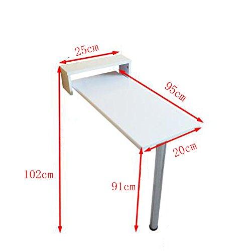 FEI Table pliante murale pliante, table de cuisine et salle à manger en bois, 9 tailles blanc (taille : 95 * 20 * 91cm)