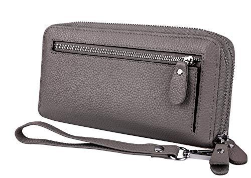 YALUXE Damen Geldbörse Echtleder RFID Lock Sicherheit mit Wristlet Doppel Reißverschluss Große Smartphone Grau