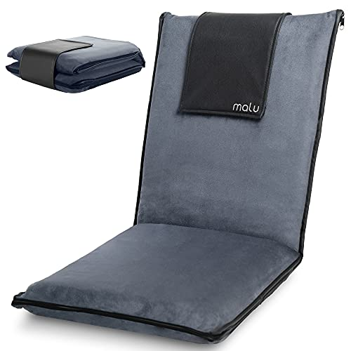 malu Luxury Padded Floor Chair with Back Support - Meditation Cushion w/Adjustable Fully Folding Backrest and Removable Gray Washable Cover - Portable - Easy Wash Nylon Bottom - Vegan Leather Accents