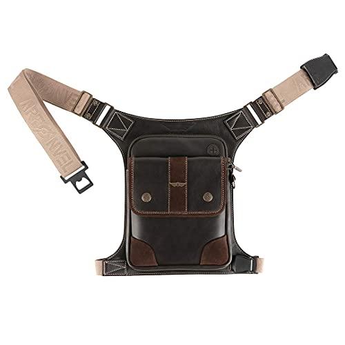 Artonvel Beintasche für Motorrad / Flugzeug, Vollnarbenleder, Vintage, Veloursleder, wasserdicht & leicht, verstellbare Tasche, ergonomisch, langlebig