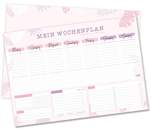 Schreibtischunterlage Papier A3 [Pink Jungle] 50 Blatt | Schreibtisch Organisation mit Wochenplaner Block, Notizblock, To-Do-Liste und mehr - von Trendstuff by Häfft | nachhaltig & klimaneutral