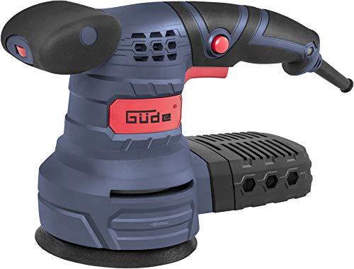 Güde 58130 EXS 125 E Exzenterschleifer (230V, Schleifteller mit Klettverschluss, 2x Schleifpapier K80, Staubfangkasette)