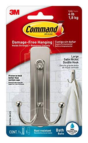 Command Large Double Bath Hook, Satin Nickel, 1-Hook, 1-Water-Resistant Strip, Organize Damage-Free