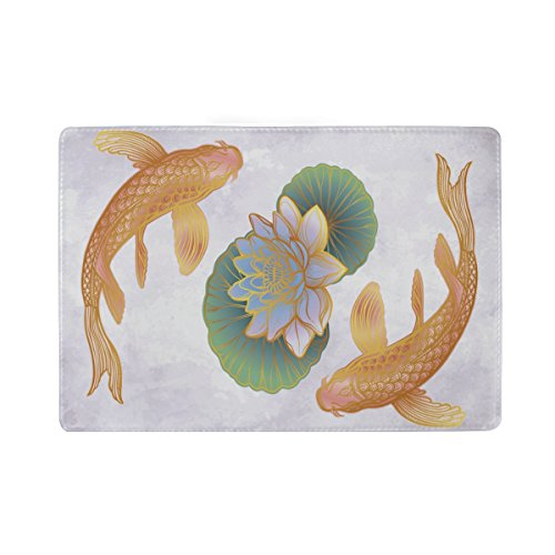 ALAZA Ethnic Koi Carp with Lotus Leather Passport Holder Cover Case Travel Wallet