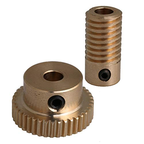 CNBTR 40T Brass Worm Gear Wheel & 5mm Hole Diameter Worm Gear Shaft Kits 0.5 Modulus Set 1:40 Reduction Ratio Drive Gear Box