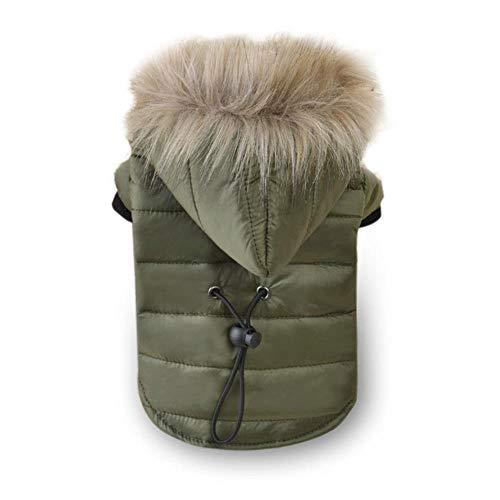 TTZY Soft Fur Hoodie Warme Baumwoll-Hundekleidung für kleine Hunde Winddichte Haustierjacke Hundemantel Winterkleidung für Yorkshire Chihuahua, Grün, M.