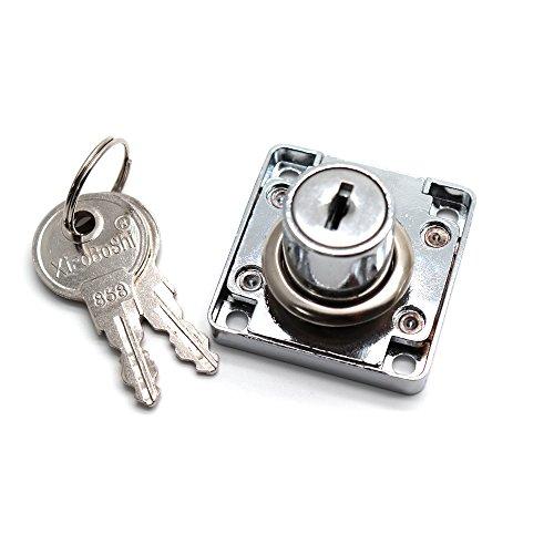 LDEXIN - Cerradura para armario con 2 llaves, color plateado