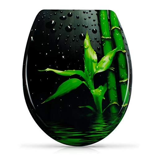 """WC Sitz mit Absenkautomatik -""""Zen Bambus"""" - Antibakterieller Duroplast Toilettendeckel inkl. Montagesatz - Grinscard"""