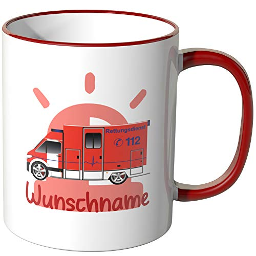 JUNIWORDS Tasse mit Wunschname, Krankenwagen, Wähle Farbe, Rot