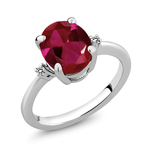 Gem Stone King 925 Sterling Silver Red Created Ruby and White Diamond Women's Ring (3.38 Ct Oval Available 5,6,7,8,9) (Size 7)