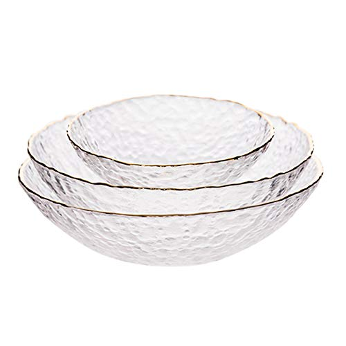 KXMYT 3PCS Glass Kitchen Mixing Bowl Set, Premium Quality Cereal Mixing Bowl, Space-Saving Stackable Containers with Golden Trim for Prepping, Serving,C