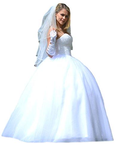 Unbekannt NEU Prinzessin Kristall Brautkleid Hochzeitskleid 34 36 38 40 42 44 46 48 50 Braut Kleid (52, Weiß)