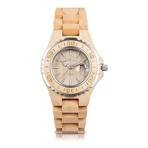 BEWELL Womens Wooden Watches Date Display Handmade Wooden Analog Quartz WatchNatural Lightweight Wood Wirst Watches (Women Maple Wood)