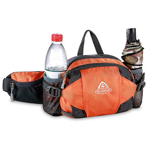 Bauchtasche 3 Liter Bauchtasche Hüfttasche mit Wasserflaschenhalter für Männer Frauen Walking Laufen Hüfttasche für Reisen Wandern Laufen Radfahren Outdoor Sport Hund Walking, Orange
