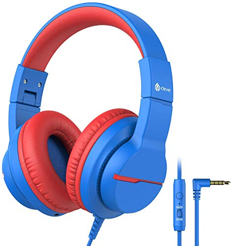 iClever HS19 Kids Headphones Over Ear, HD Stereo Headphones with Microphone for Children, Volume Limiter 85/94dB, Sharing Function, Foldable Headphones for School/Travel/Phone/Kindle/PC/MP3