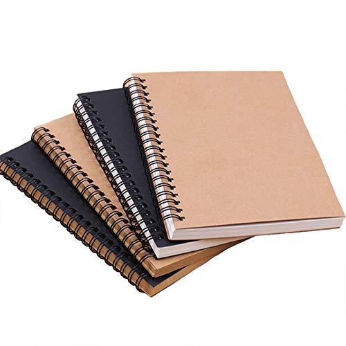 Bloc de Notas Espiral, Blanco del Cuaderno de Bocetos de Tapa Dura Libretas 100% Reciclados, para oficina, estudiantes, útiles escolares, Diario de Viaje, 45 hojas, 4pcs
