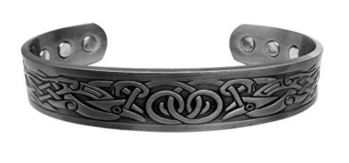 Magnetisches Arthritis-Therapiearmband aus Hartzinn. Traditionelles keltisches Design mit 6 Magneten. Für Damen oder Herren, von Chain-Relief