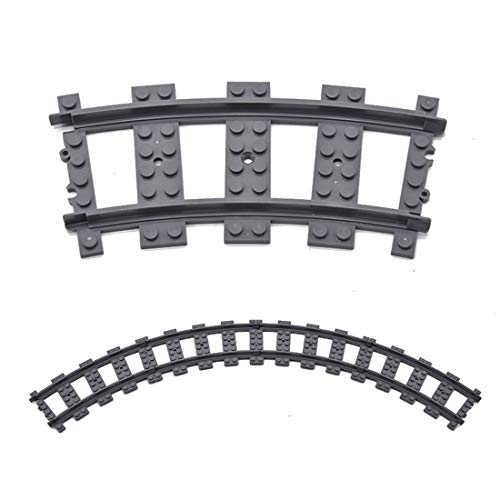 Tewerfitisme Techink Train Curved Track DIY Building Blocks Brick Parts Compatible with Lego Pack of 100
