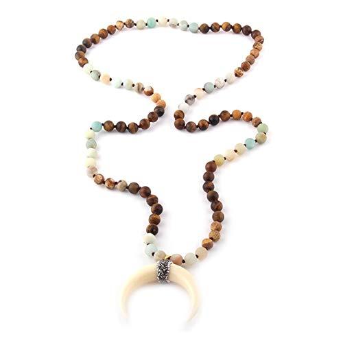 JWWLLT Fashion Bohemian Jewelry Tribal Multi Stone Anudado Cuerno Cuerno Luna Colgante Colgante para Mujeres (Length : 90cm, Main Stone Color : Multi)