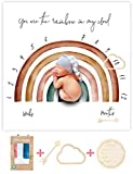 Organic Rainbow Baby Monthly Milestone Blanket Newborn Boy Girl Unisex Neutral| Boho Vintage Rainbow Baby Monthly Picture Blanket| Baby Growth Photography Background Prop