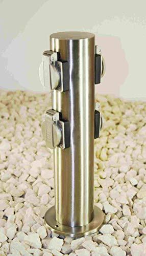 Steckdosensäule Gartensteckdose Edelstahl 4-fach IP44 mit 2 Schaltern und Kinderschutz