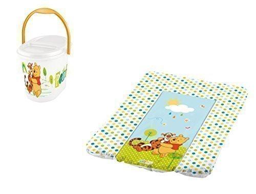 Disney Matelas à Langer 70 X 50 + Sceau à Couches Blanc Winnie L'Ourson Matelas à Langer Bébé Poubelle