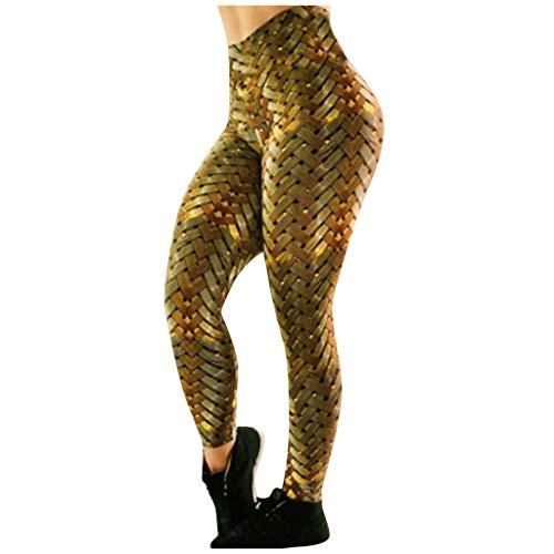 Xniral Damen Sport Leggings Lange Blickdichte Yogahose Sporthose Yoga Tights Bedruckte Leggings mit Hoher Taille und Hüftstretch(Gold,XL)