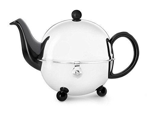 Steingut-Teekanne Cosy® schwarz mit filzisoliertem Edelstahlmantel 0,9 ltr.