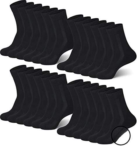 MC.TAM® Unisex Sportsocken Tennissocken Lange Socken Wintersocken Herren Damen 12 Paar 80% Baumwolle (Oeko-Tex® Standard 100) Frotteesohle, 43-46, 12x TF, Schwarz