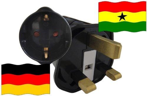 Urlaubs Reiseadapter Ghana für Geräte aus Deutschland Kindersicherung und Schutzkontakt 250V