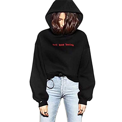YEMOCILE Damen Kapuzenpullover Schwarz Mit Kapuzen Hell was Boring Brief Druck Hoodie Sweatshirt Crop Tops für Mädchen und Frauen