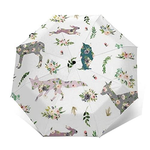 Paraguas compacto de viaje a prueba de viento paraguas patchwork floral Woodland Animales reforzado Canopy auto abierto y cierre botón